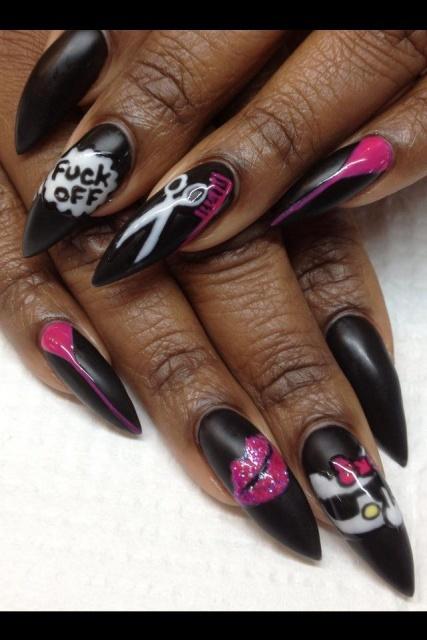 дизайн острых ногтей  ножницы мат котёнок sharp nail design