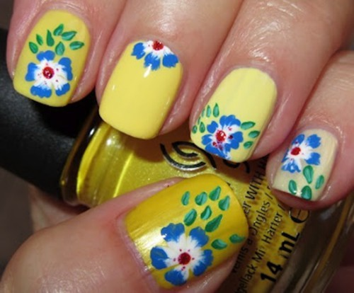 дизайн ногтей spring design of short nails