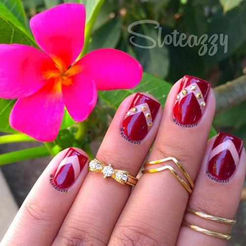 Красные короткие ногти дизайн