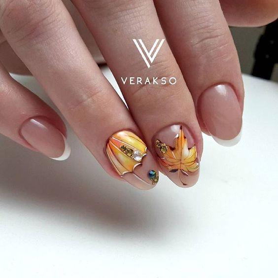 fall nail designs for short nails осенний маникюр на короткие ногти