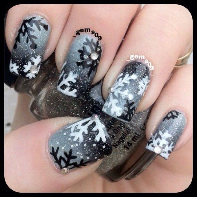 Рисунки на ногтях на зима
