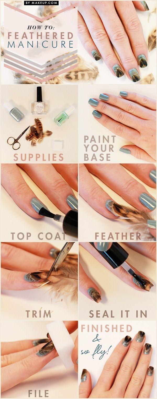 Как нарисовать птичку на ногтях