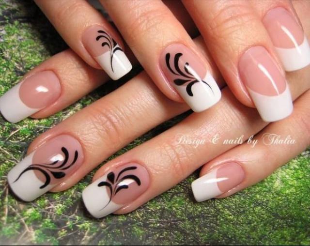 Узоры ногтей на френче фото
