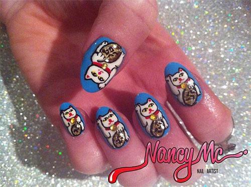 китайский дизайн ногтей кошечка Nail Design hieroglyph