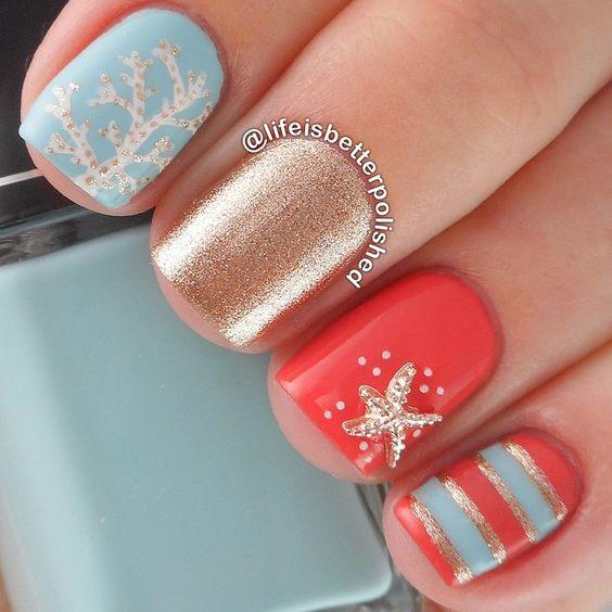 Дизайн ногтей синий цвет