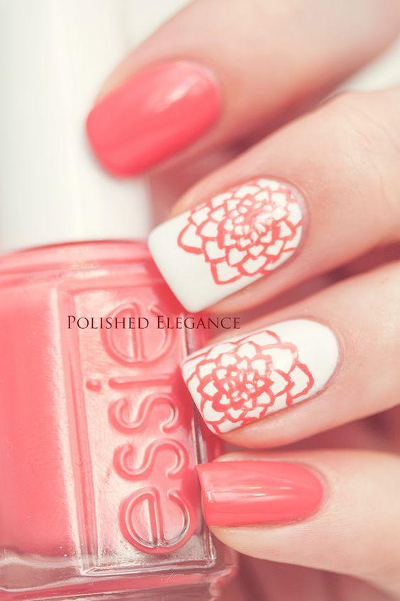 Дизайн ногтей в коралловом цвете фото