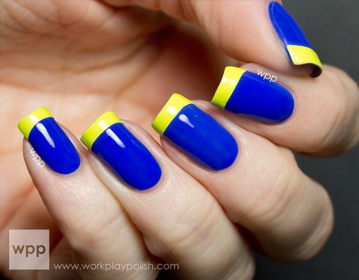 Маникюр сине-желтый фото