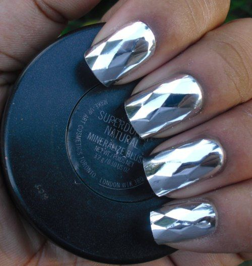 manicure mirror foil зеркальный маникюр с фольгой