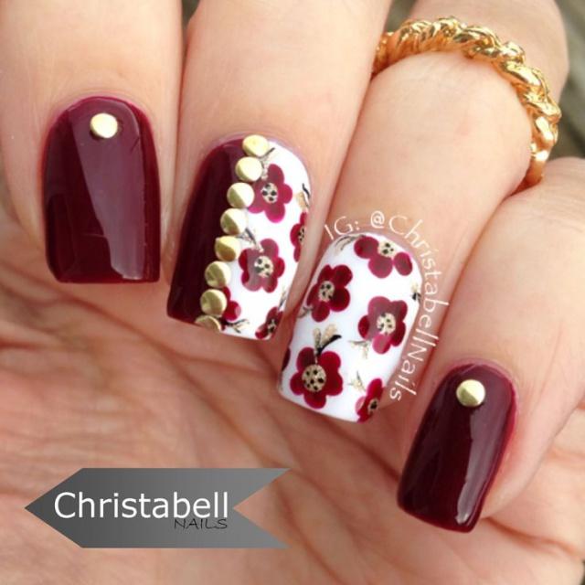 дизайн ногтей цвета бордо цветы