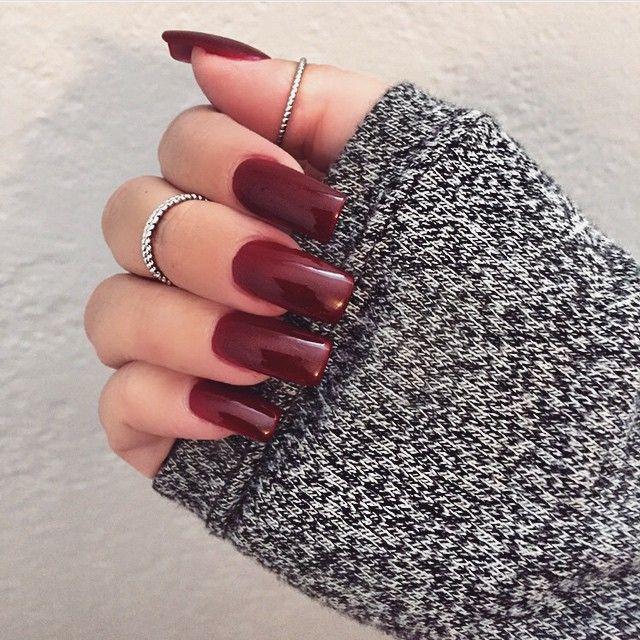 дизайн ногтей цвета бордо наращенные