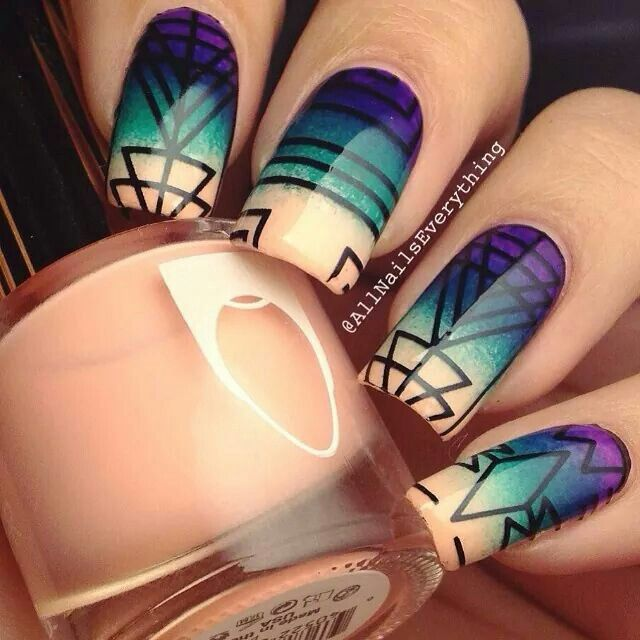 Дизайн ногтей сине розовый цвет