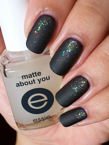 глиттер дизайн блёстками матовый чёрный beautiful nail design glitter