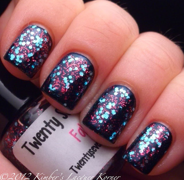глиттер дизайн блёстками красно синий beautiful nail design glitter
