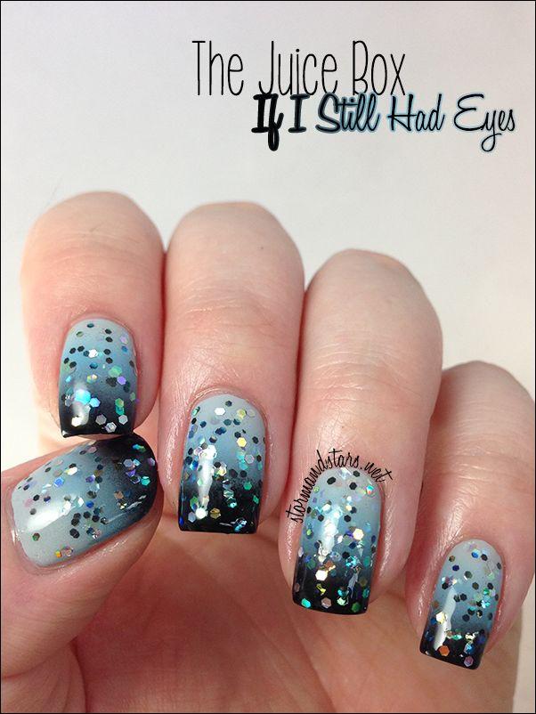 глиттер дизайн блёстками бело голубой beautiful nail design glitter