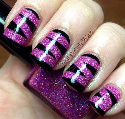 глиттер дизайн блёстками красное на чёрном beautiful nail design glitter