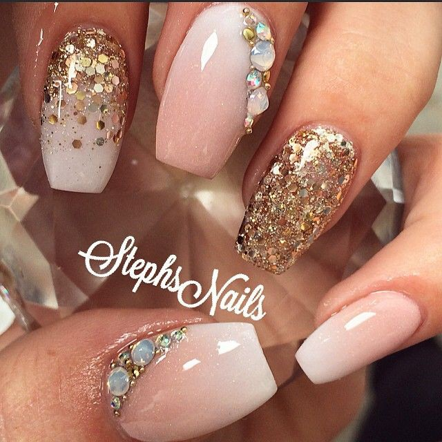 глиттер дизайн блёстками золотые блёстки beautiful nail design glitter