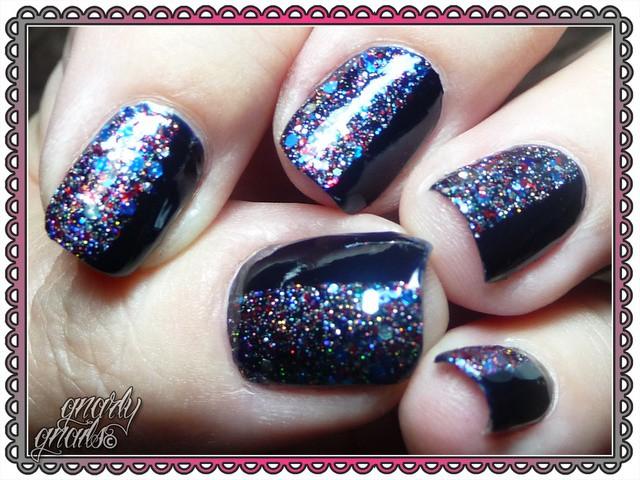 глиттер дизайн блёстками чёрный односторонний beautiful nail design glitter