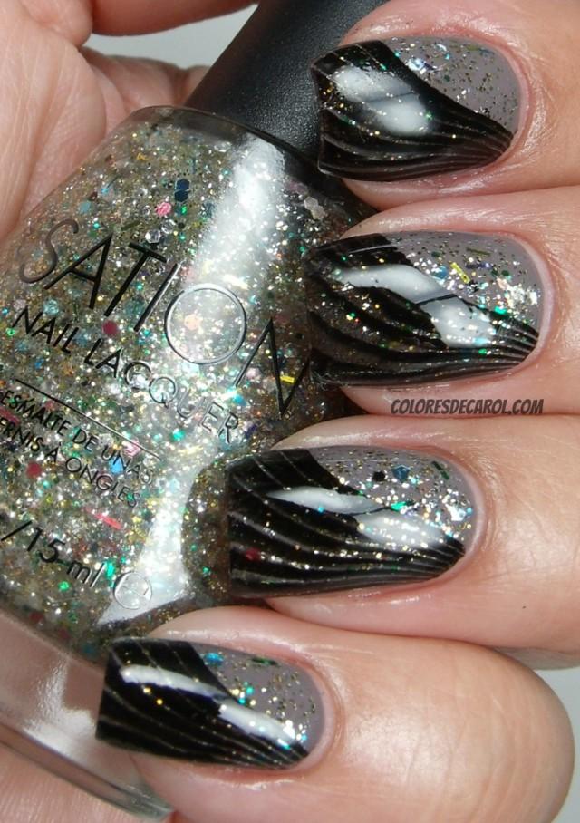 глиттер дизайн блёстками чёрные изгибы beautiful nail design glitter