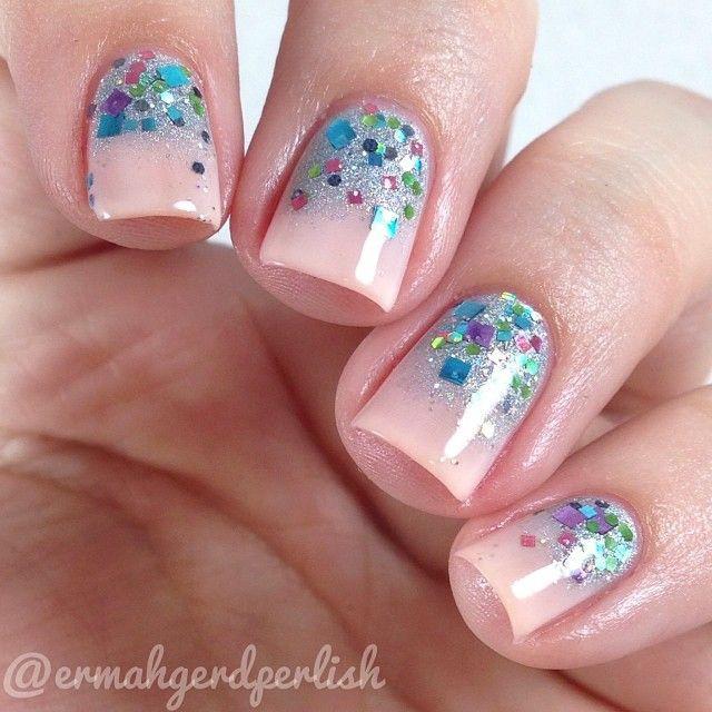 глиттер дизайн блёстками розовый beautiful nail design glitter