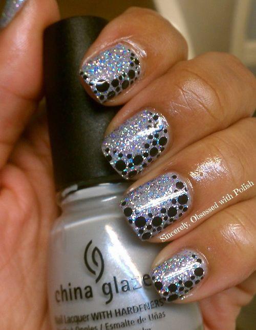 глиттер дизайн блёстками капельки beautiful nail design glitter