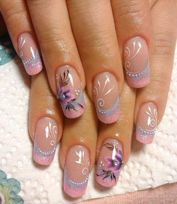 Идеи для дизайна ногтей синего цвета