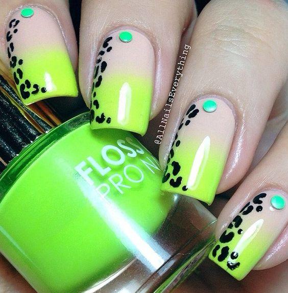 Дизайн ногтей салатовый цвет