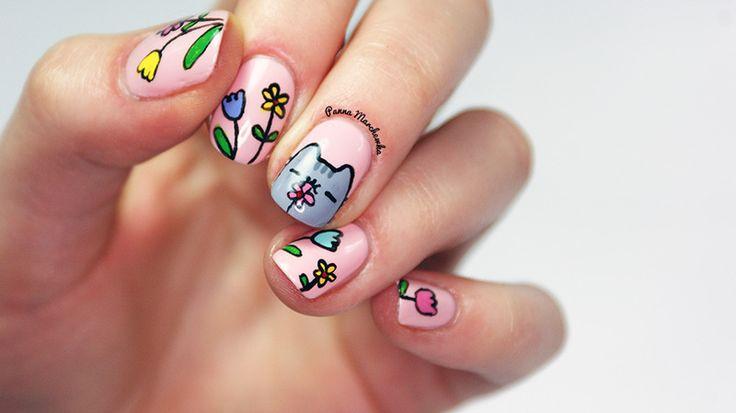 Кошка на ногтях пошагово