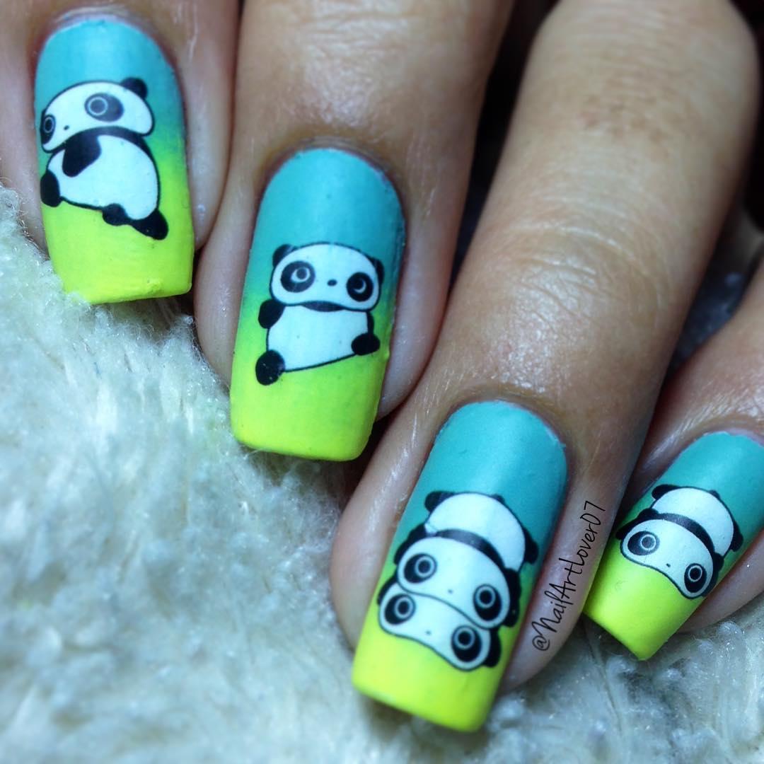 Красивый маникюр с пандами фото