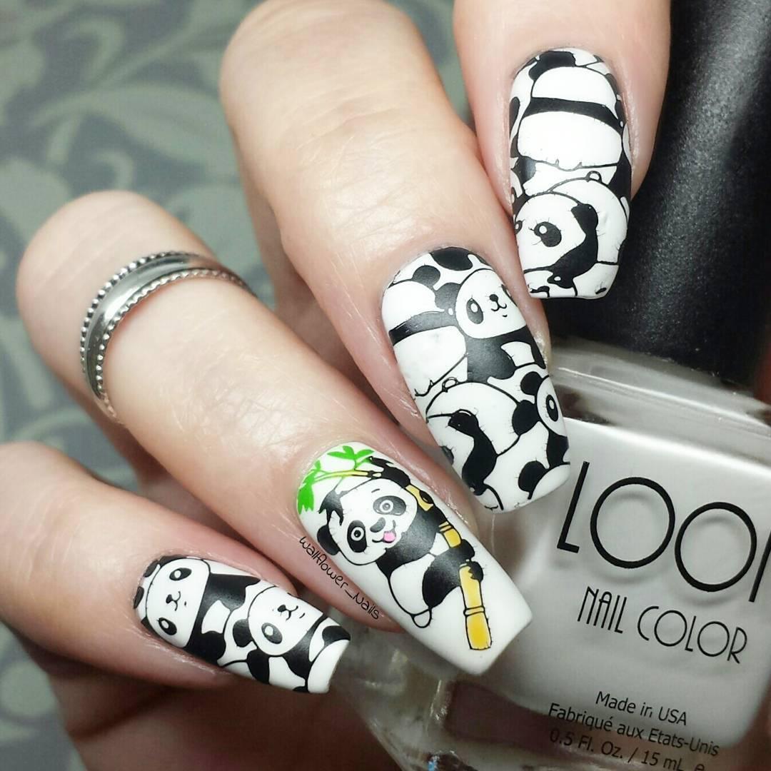 Дизайн ногтей фото панд