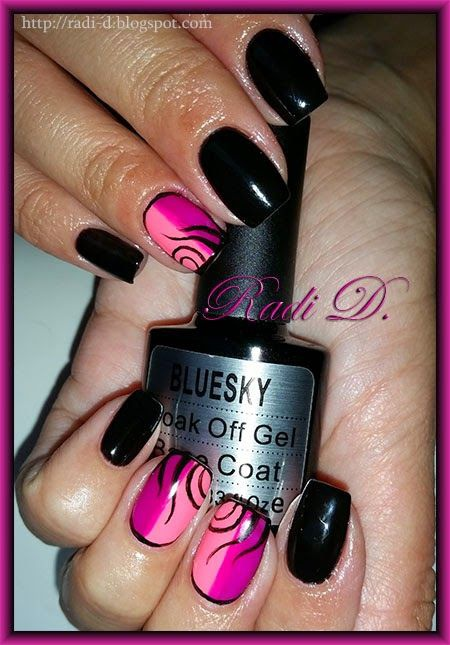 photo nail gel polish bluesky pink and red