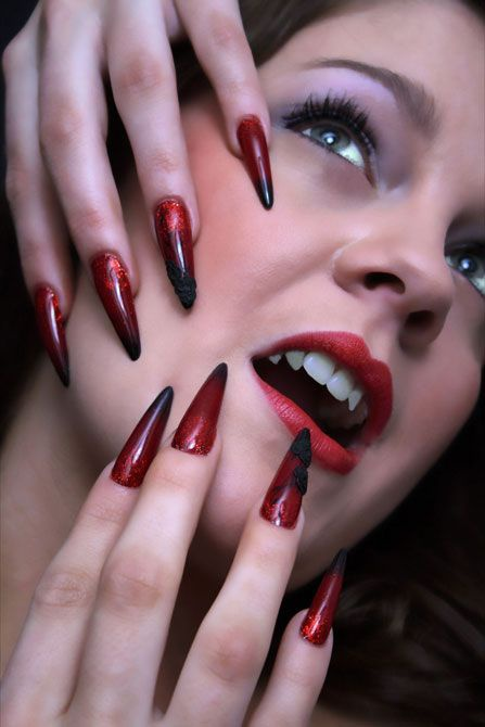 red black manicure красно чёрный дизайн ногтей акрилл