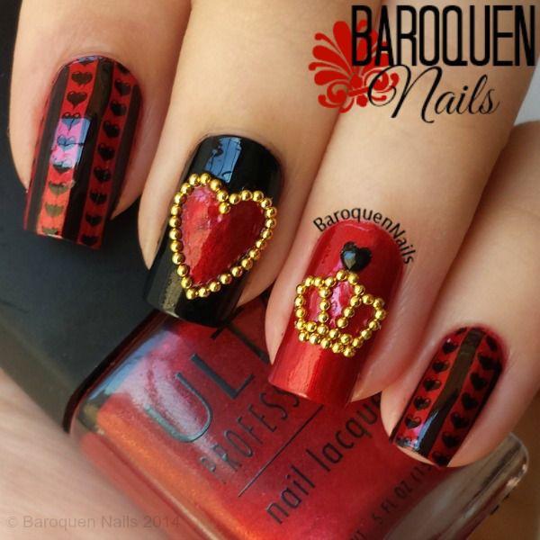 red black manicure красно чёрный дизайн ногтей сердечко с короной бульонками