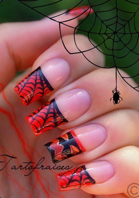 red black manicure красно чёрный дизайн ногтей паутинка