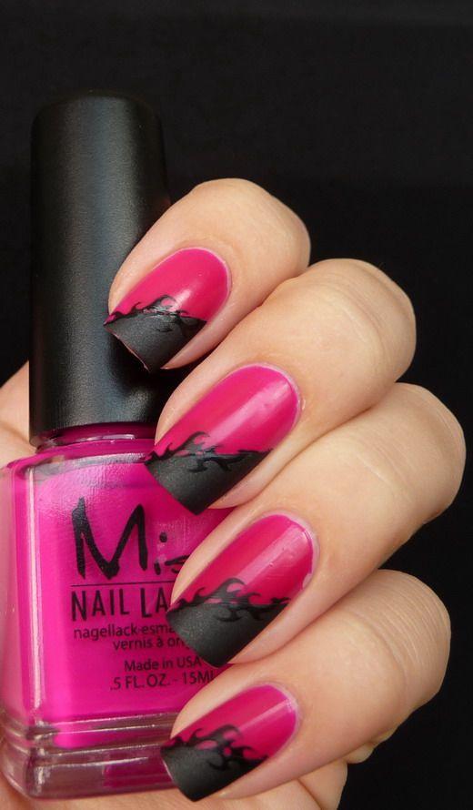 red black manicure красно чёрный дизайн ногтей разделение по диагонали