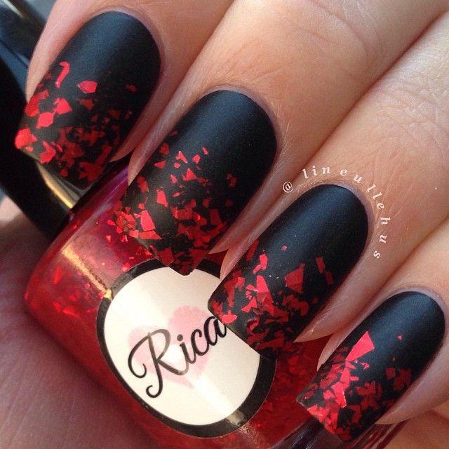 red black manicure красно чёрный дизайн ногтей матовый