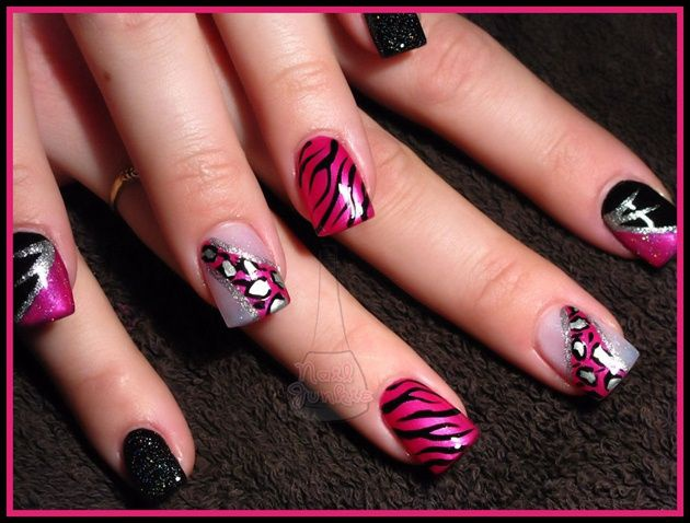 red black manicure красно чёрный дизайн ногтей зебра