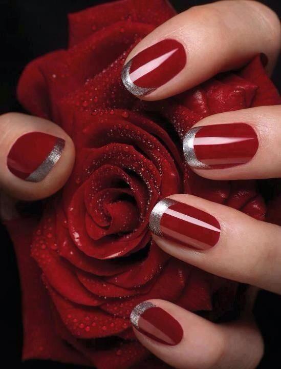 дизайн красных ногтей роза red nail design trends