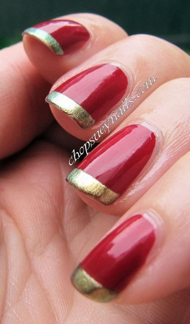 Красный ногти с золотом