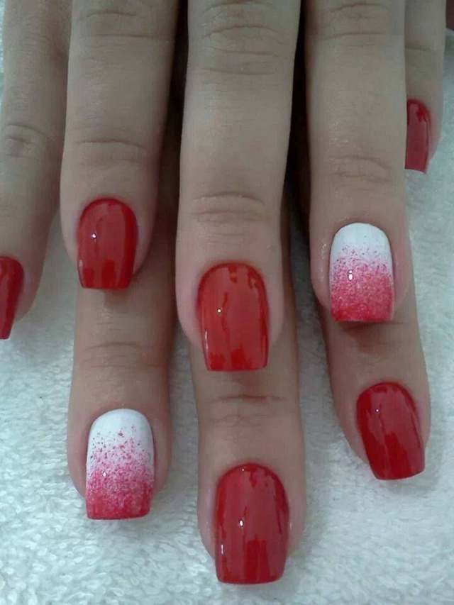 beautiful red manicure white ombre красно белый маникюр    омбре