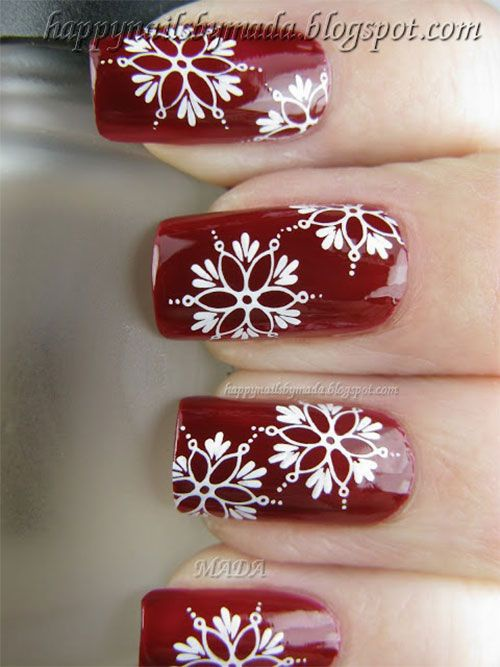 beautiful red manicure white красно белый