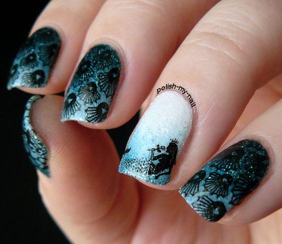 Дизайн ногтей гель-лаком рыбки