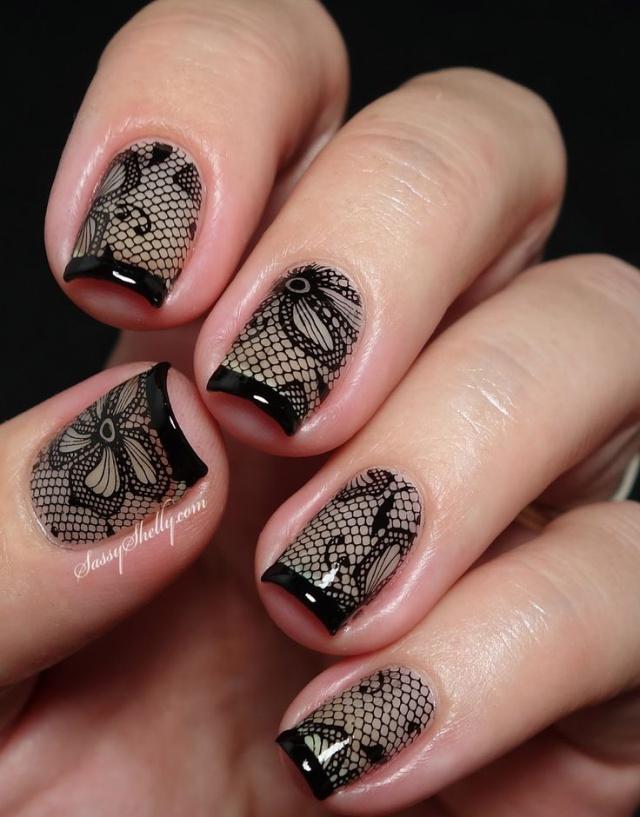 Черная сеточка на ногтях