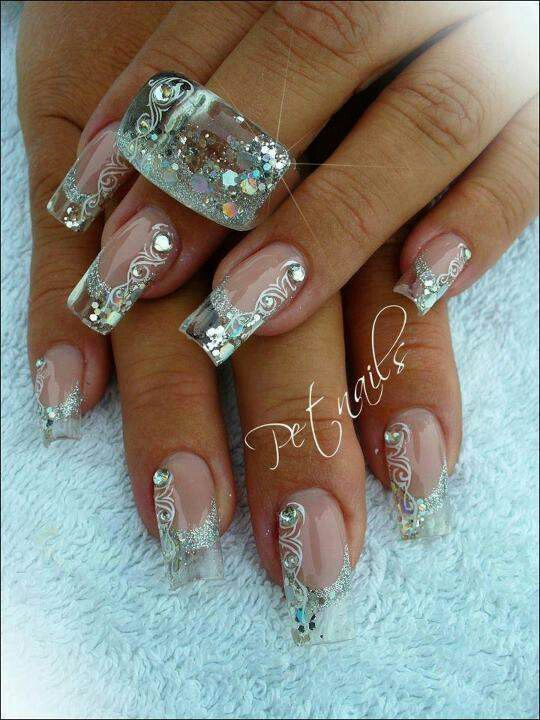 transparent nail design  прозрачный маникюр роспись manicure with transparent tips