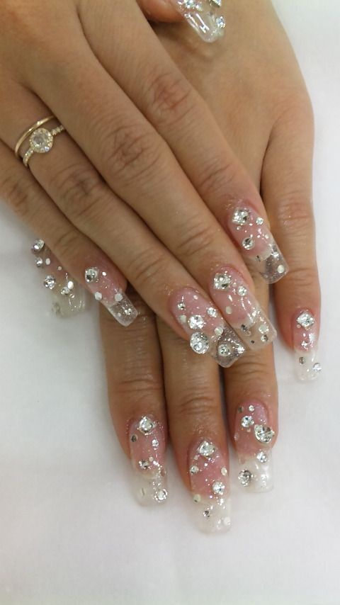 transparent nail design  прозрачный маникюр стразы manicure with transparent tips