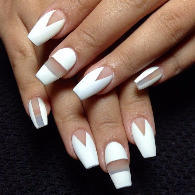 transparent nail design  прозрачный маникюр белый manicure with transparent tips