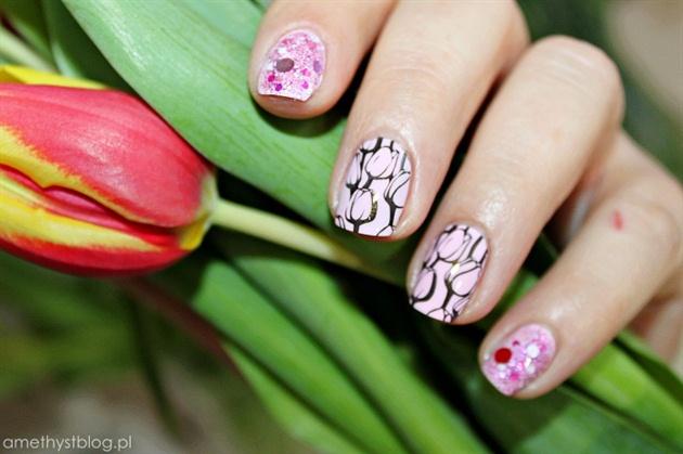 Дизайн ногтей с тюльпанами.фото