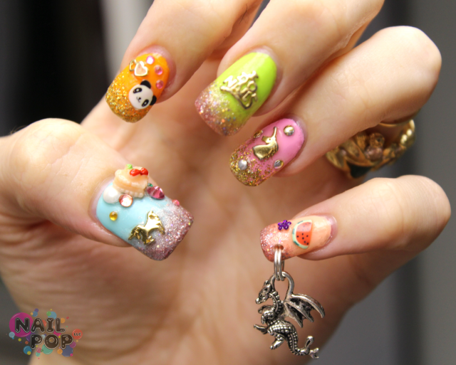 Nail piercing photo пирсинг ногтей  дракон nail design piercings
