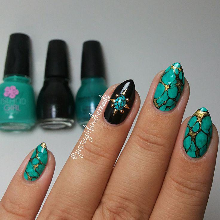 Дизайн ногтей бирюзовый цвет фото