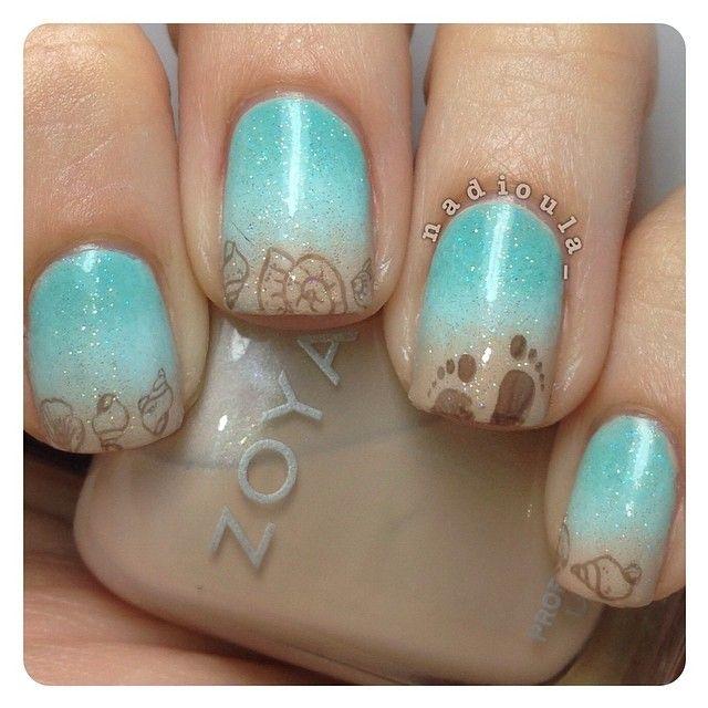Дизайн ногтей бирюза и серый