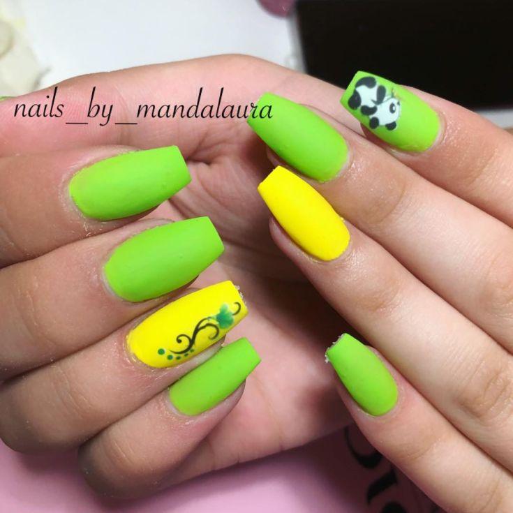 маникюр жёлто зеленого цвета
